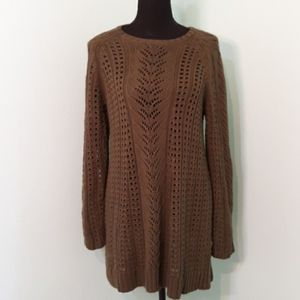 Dark Green J.Jill Open Knit Heavy Sweater